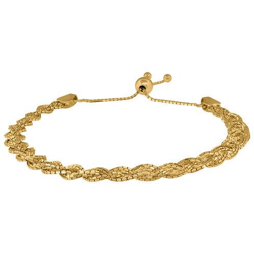 """14k Yellow Polished Gold Twisted Braided Adjustable Bolo Bracelet 9"""" 6g NICE!"""