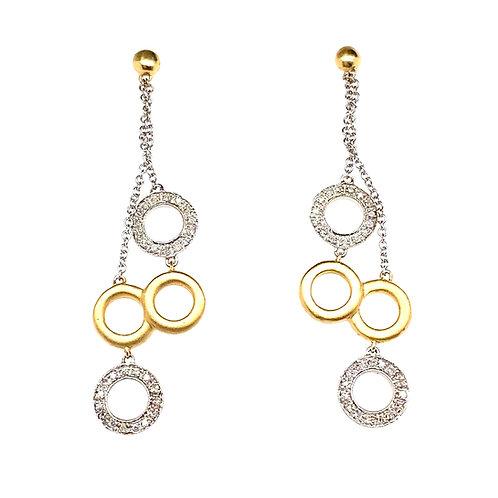 Stunning 14K Gold Circle Diamond Earrings
