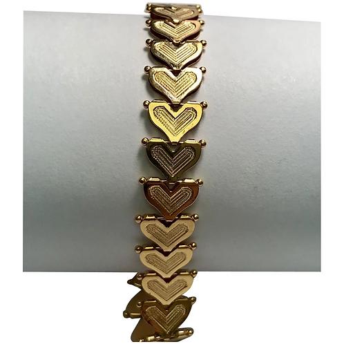 14 K Yellow Gold Multiple Hearts Link Bracelet