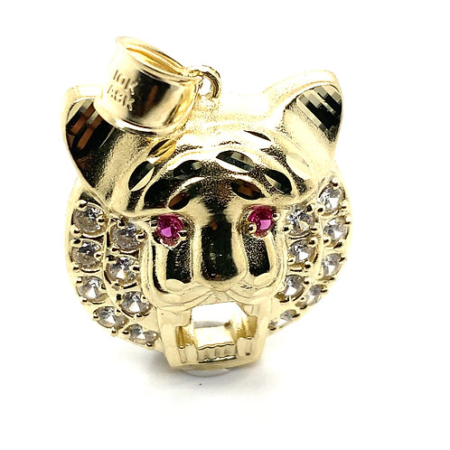 Absolutely Gorgeous Lion Pendant With C/Z Stones and Pink Eyes  Nice Large Piece