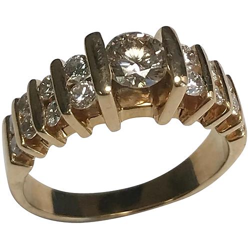14 K Yellow Gold 1.02 Ctw Diamond Engagement Ring ~ IGI Cert