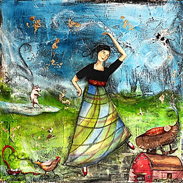 A vivid mixed-media illustration of a woman in a long plaid skirt dancing in a green field. A small red barn sits in the lower right corner. Farm animals such as a chicken and pig can be seen in the background.