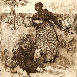 margaret law     feeding the chickens