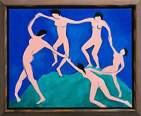"""A copy of Henri Matisse's """"La Danse"""" by Nancy Corbin. Abstract figures dance on a flat green hill against a flat blue background. There is a dark wood frame around the canvas."""
