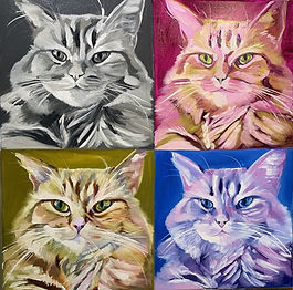 A grid of four paintings of the same striped cat. The upper left image is in grey tones, the upper right image is in pink tones, the lower left image is in green tones, and the lower right image is in blue and purple tones.