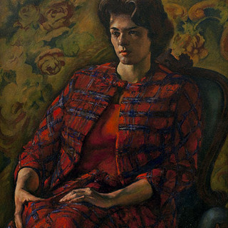 august cook     woman in red plain jacket