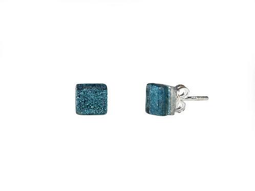 Northern Lights Glass Stud Earrings Sparkling Petrol