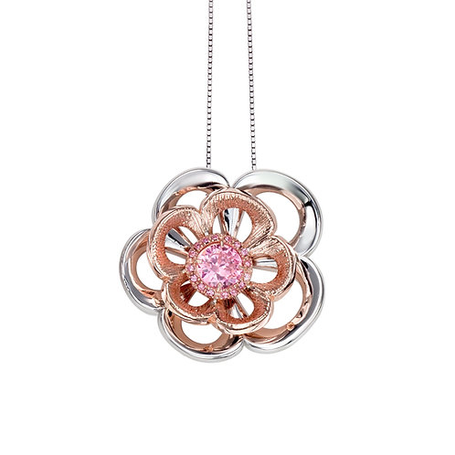 Beautiful Rose Necklace with Swarovski Crystals