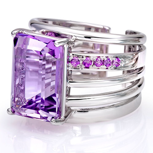 Natural Gems Luxury Ring with Pink Amethyst in White Gold