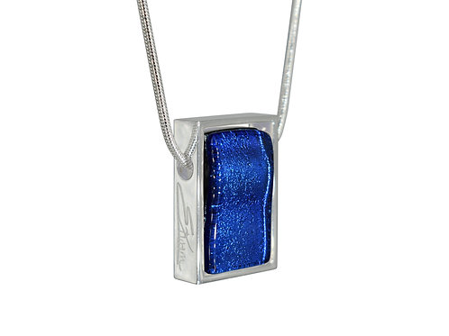 Northern Lights Necklace | Glass Pendant in Silver Frame