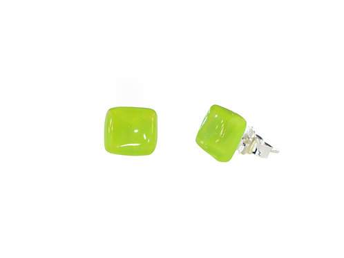 Northern Lights Glass Stud Earrings Neo Lime