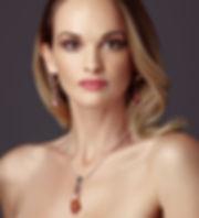 Jewellery model wearing Norwegian jewellery designs