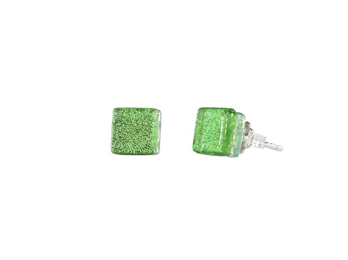 Northern Lights Glass Stud Earrings Sparkling Green