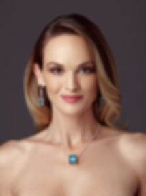 Jewellery Model wearing glass and natural gem stone jewellery