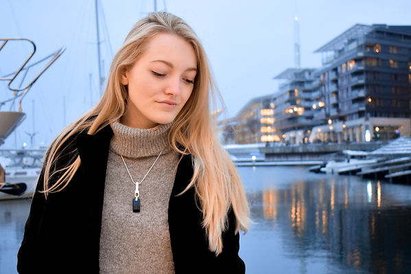 Andrea Kvam wearing the Urban Embers Necklace by Ellen Kvam Norwegian Design