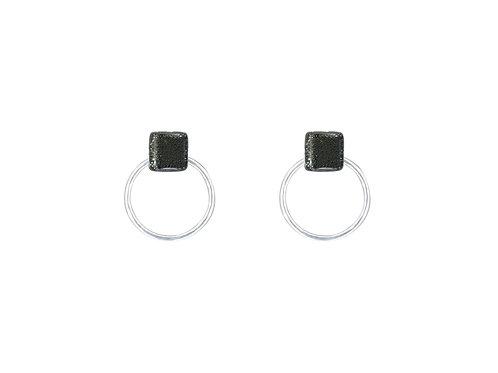 Sparkling Black Hoop Earrings