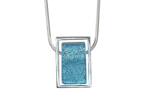 Northern Lights Glass Necklace Sparkling Blue Front View