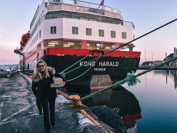 Jewellery Designer Ellen Kvam visiting Hurtigruten