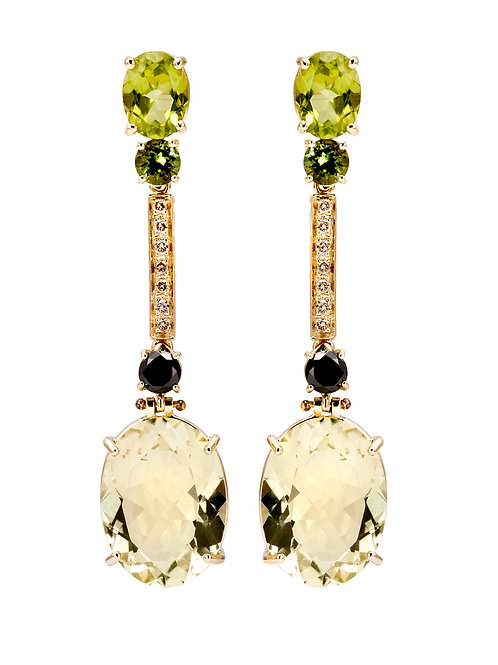 Luxury Earrings with Lemon Quarts Natural Gems
