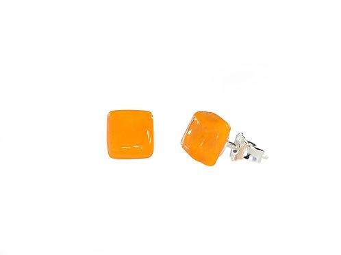 Handcrafted Glass Stud Earrings | Ellen Kvam Norwegian Design | Tangerine Orange