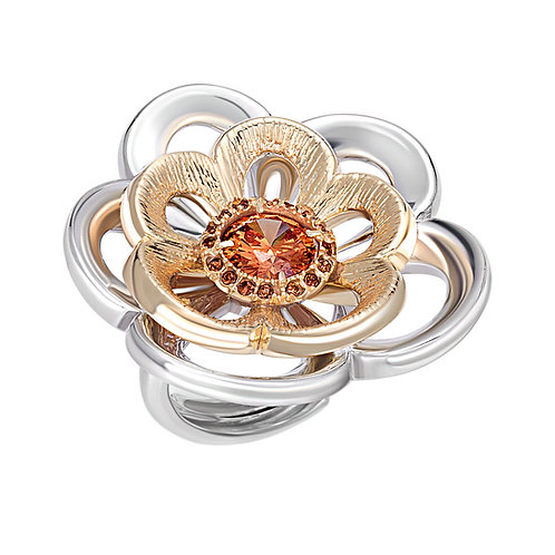 Beautiful Rose Ring with Orange Swarovski Crystals