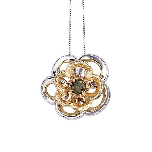 Olive Green Rose Necklace | High End Sterling Silver Necklace | Ellen Kvam Norwegian Design