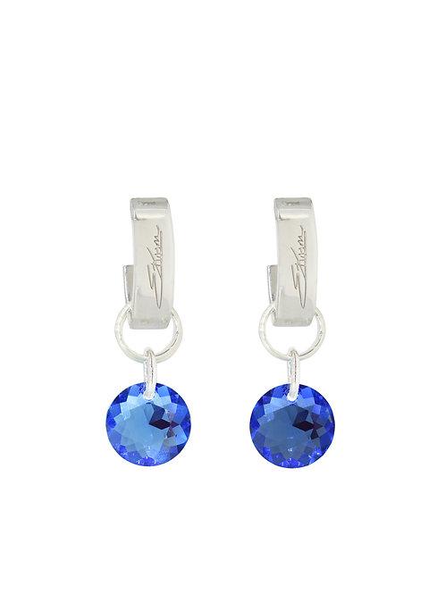 Classic Crystal Cut Earrings Sapphire