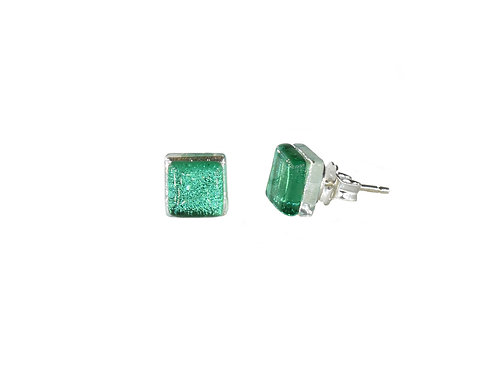 Emerald Green Stud Earrings | Handcrafted Glass Earrings | Ellen Kvam Norwegian Design