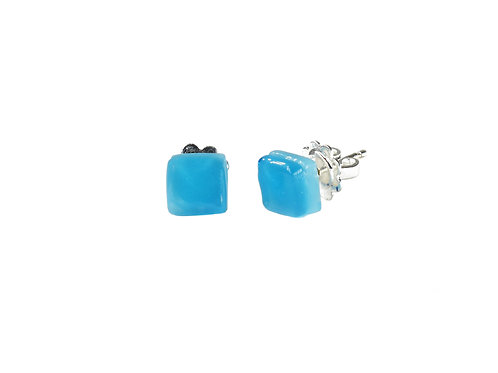 Northern Lights Glass Stud Earrings Light Blue