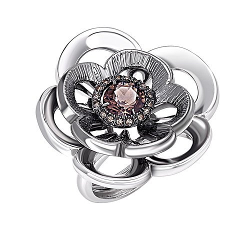 Statement Ring: Rose Ring with Swarovski Crystals