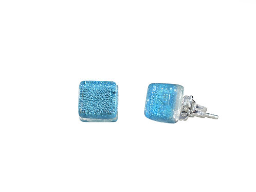 Northern Lights Glass Stud Earrings Sparkling Blue
