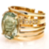 Ellen Kvam Norwegian Design Green Amethyst ring with diamonds