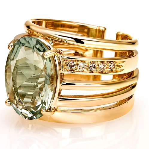 Natural Gems Ring with Green Amethyst in Yellow Gold
