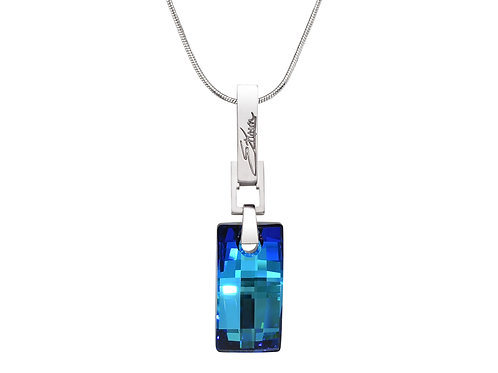 Simple and Elegant Sterling Silver Necklace | Swarovski Crystals | Urban Embers Necklace Bermuda Blue | Ellen Kvam