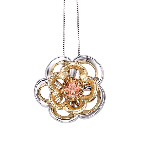 Rose Necklace with Swarovski Crystals in Light Peach