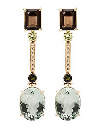 Natural Gems Earrings with Green Amethyst by Ellen Kvam Norwegian Design