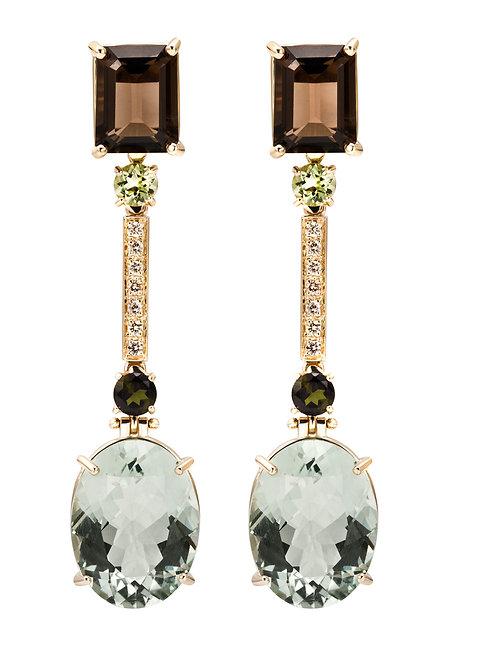 Luxury Earrings Green Amethyst Natural Gems