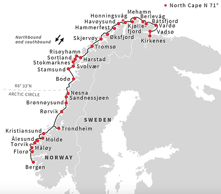 Hurtigruten Norwegian Coastal Line Map