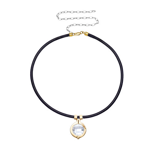 Star Stone Necklace Black with Clear Swarovski Crystal