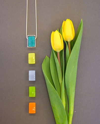 Northern Lights Necklace with Interchangeable Glass Pendants | Sterling Silver | Spring Colors