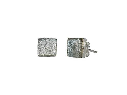 Northern Lights Glass Stud Earrings Sparkling Grey