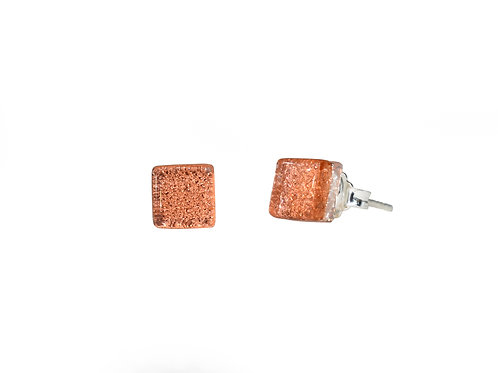 Northern Lights Glass Stud Earrings Sparkling Coral