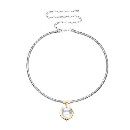 Star Stone Necklace Silver with Clear Swarovski Crystal