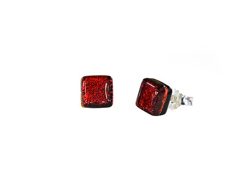 Northern Lights Glass Stud Earrings Sparkling Red