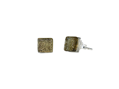 Northern Lights Glass Stud Earrings Sparkling Khaki