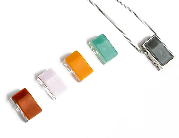 Northern Lights Glass Necklace in 925 Sterling Silver