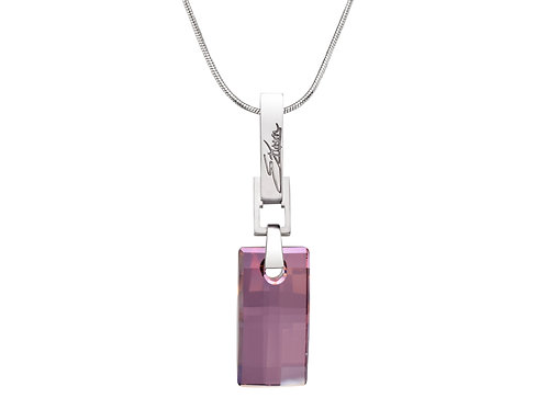 Simple and Elegant Sterling Silver Necklace | Swarovski Crystals | Urban Embers Necklace Lilac Shade Crystal | Ellen Kvam