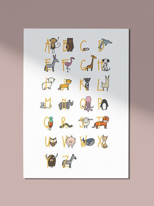 Alfabet kleur - okergele letters