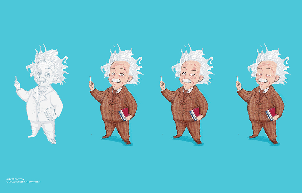 1000_Albert Einstein_character design_角色設計_大腦梳子_Brain Comb葉小妖YunYiiYeh葉蘊儀