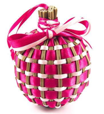 """Boule de lavande """"Tradition"""" fuchsia & rose pâle"""